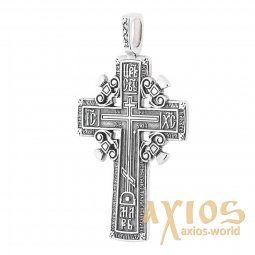 The cross «Calvary cross», silver 925 with black, 55x31mm, O 13501 - фото