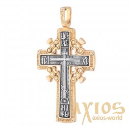 Native cross «Calvary cross», silver 925 with gilding and blackening, 55x31mm, O 131627 - фото
