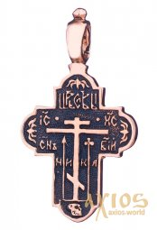 Neck cross, gold 585, 30x25mm, with blackening О п01346 - фото