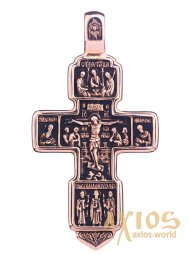 The cross, gold 585, 60х32mm, with blackening О п00310 - фото