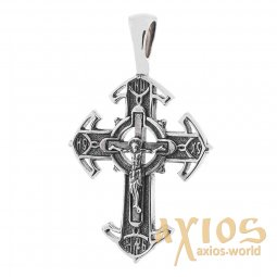 Neck cross, silver 925, 35x20mm, with blackening О 131479 - фото