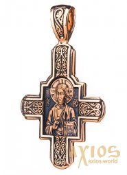 The natty cross «Lord Almighty. Great Martyr Panteleimon the Healer», gold 585, 35х21mm, with blackening О п01876 - фото