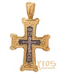 Native cross «Golgotha», silver 925, with gilding and blackening, 36x29mm, O 131794 - фото
