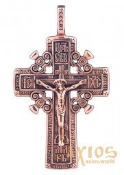 The cross «Crucifixion», gold 585, with blackening 55x32mm, О п00788 - фото