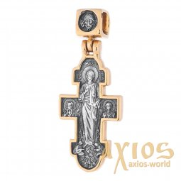 The cross «Icon of the Mother of God Unexpected Joy», silver 925, with gilding and blackening, 33x14mm, О 131691 - фото