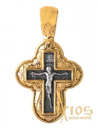 Neck cross, silver 925, with gilding and blackening, 30x16mm, O 131791 - фото