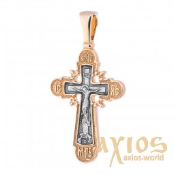 The cross «Crucifixion», silver 925, with gilding and blackening, 35x18mm, O 131792 - фото