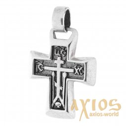 Neck cross, silver 925, with blackening, 25x18mm, O 131725 - фото