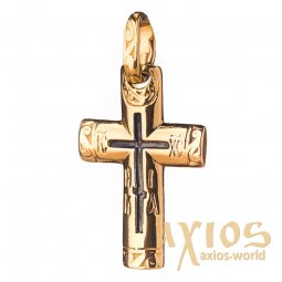 Neck cross, silver 925, with gilding and blackening, 33x16mm, O 131745 - фото