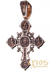 The natty cross «Lord Almighty», gold 585, with blackening, 60х40мм, О п01616 - фото