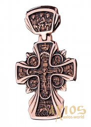 The cross «Crucifixion. Icon of the Mother of God «Sovereign», gold 585, with blackening, 60х40mm, О п01615 - фото