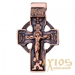 The cross «Crucifixion», gold 585, with blackening 45x35mm, О п01852 - фото