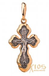 The cross «Crucifixion», silver 925, with gilding and blackening, 26x10mm, About 131969 - фото