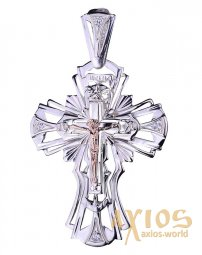 Neck cross, silver 925, inset gold 585, height 80mm, O 131442 - фото