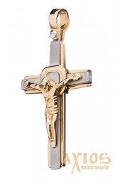 Silver cross from white and yellow gold 585 ° Op01964 - фото