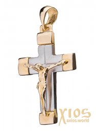 Silver cross from white and yellow gold 585 ° Op01965 - фото
