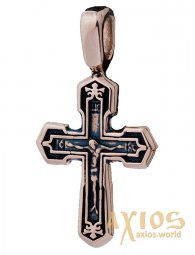The cross «Crucifixion with Prayer», gold 585, with blackening 24x13mm, О п02536 - фото