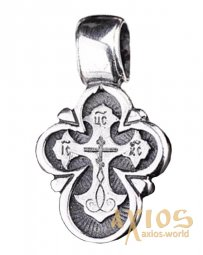 Neck cross, silver 925, with blackening, 25x13mm, O 13759 - фото