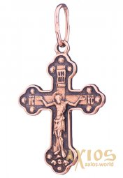 The cross «Crucifixion with prayer», gold 585, with black 31x18mm, О п01853 - фото