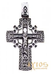 Neck cross «Calvary cross», silver 925, with blackening, 52x32mm, O 131043 - фото