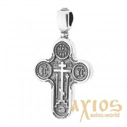 Neck cross, silver 925, with blackening, 40x25mm, O 13364 - фото