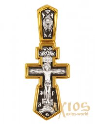 "A cross with a crucifix, ""Let God Risen"", silver 925 ° with gilding, 11x27 mm - фото"