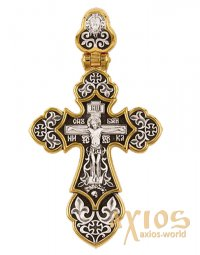 The Crucifixion of Christ. Guardian angel. Orthodox cross, 23х42 mm, E 8398 - фото