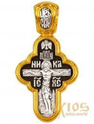 Cross The Crucifixion of Christ. The Vladimir Icon of the Mother of God. Silver with gilding, 24x12 mm - фото