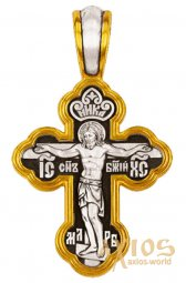Cross The Crucifixion of Christ. Angel Guardian, silver 925 with gilding, 32x18 mm, E 8201 - фото