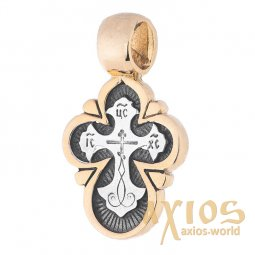 Cross, silver 925 ° with gold and black, 12x17 mm, О 13692 - фото