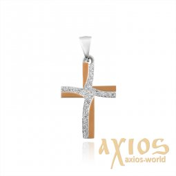 Cross with a gold plate and cubic zirconia - фото