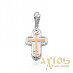 Silver cross with gold plates - фото