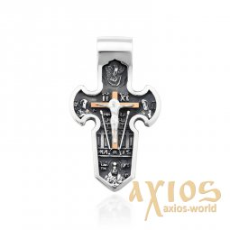 Silver cross with gold, massive - фото