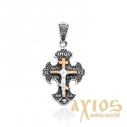 Silver cross with gold, vest - фото