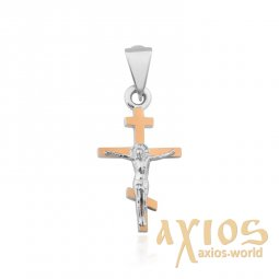Cross of silver and gold in the classical style - фото