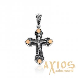 Cross of silver and gold with a crucifix - фото