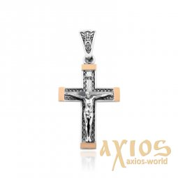 Silver cross with gold inserts - фото