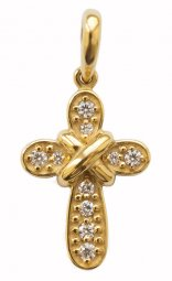 "Cross ""Salter"", silver 925° gold plated, stones cubic Zirconia  - фото"