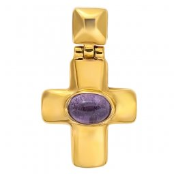 Cross «Korsun», silver 925° gold plated, amethyst - фото