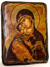 Icon of the Holy Theotokos antique Vladimir 13x17 cm - фото