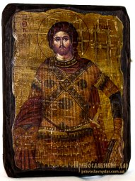 The icon of the Holy Great Martyr antique Artemius 13x17 cm - фото