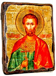Icon Antique Holy Martyr Theodotus (Bogdan) Ancyra 7x9 cm - фото