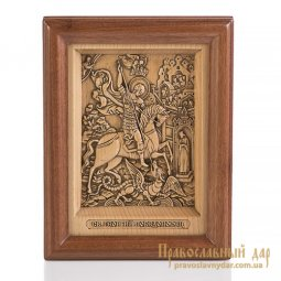 Carved icon of St. George the Victorious - фото