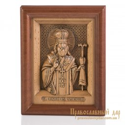 Carved icon of St. Theodosius, Archbishop of Chernigov - фото