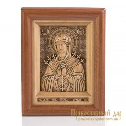 Carved icon of Virgin Mary Seven arrows - фото