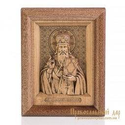 Carved icon of St. Basil the Great - фото