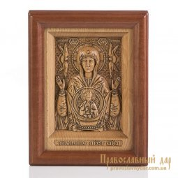 Carved icon of Holy Mother of God the Sign - фото