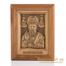 Carved icon of St. Nicholas the Wonderworker - фото