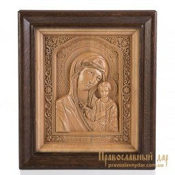 Carved icon of Virgin Mary of Kazan - фото