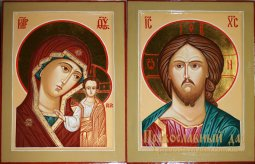 Wedding couple hand-written icon of the Lord Almighty and the Most Holy Theotokos - фото